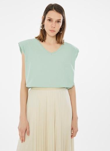 Loves You V Yaka Vatkalı %100 Cotton T-shirt Yeşil
